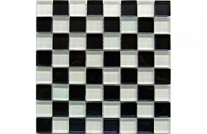 Мозаика стекло Glass White Black 30x30x0,4(1,62)